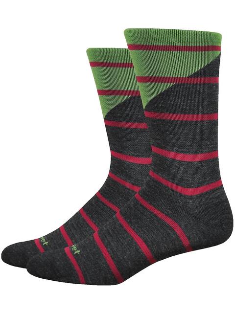 """DeFeet Mondo Wool 7"""" Socks Tieon (Charcoal/Green)"""